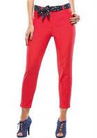 Брюки женские узкие дудочки , высокая посадка,красные джинсы, стрейчевые , до щиколотки, бр 001, 48-52
