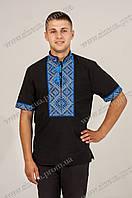 Вышиванка мужская Федор чёрная короткий рукав