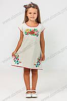 Детское вышитое платье-туника Дианочка лен