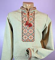 Качественная мужская сорочка вышиванка с красным орнаментом