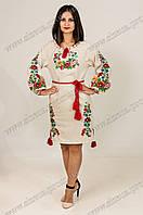 Вышитое платье Диана лен