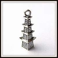 """Метал. подвеска """"Китайская пагода """" серебро (2,6*0,6 см) 5 шт в уп."""