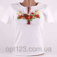 Нарядная женская футболка вышиванка маки - колоски