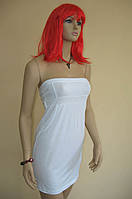 Белое трикотажное мини-платье без бретелей и с завышенной талией