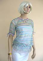 Прозрачная и легкая женская блуза в полосочку с рюшами и завязками