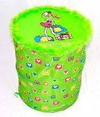 Корзина для игрушек (зеленая ), 37х44 см, в кульке (7) код 33834
