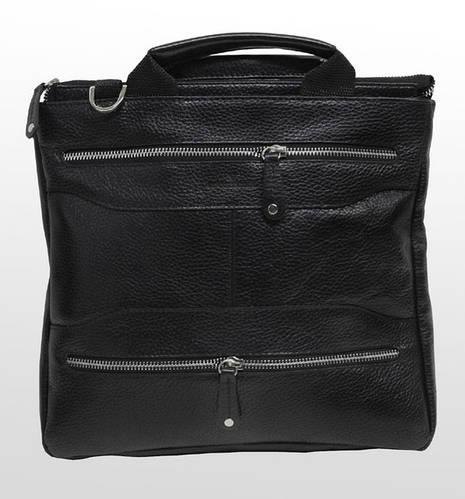 Стильная сумка кожаная мужская Vip Collection 1422A flat черная