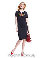 Стильная трикотажная футболка вышиванка женская
