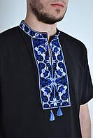 Черная мужская футболка-вышиванка