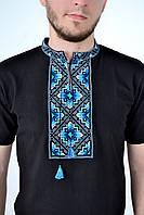 Мужская вышиванка короткий рукав с ярким орнаментом
