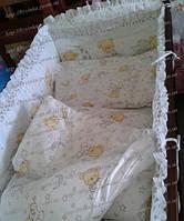 Детское постельное белье из 7 ед с рюшей (Без балдахина). Мишка на подушке