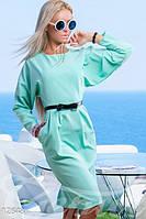 Деловое женское платье футляр миди с рукавами летучая мышь коттон стрейч