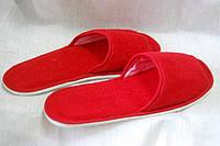 Тапочки махровые красные с нескользящей подошвой