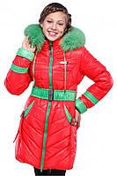 Стильная зимняя курточка для девочки с мехом от производителя