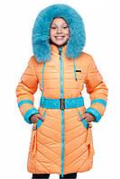 Стильная детская курточка на зиму для девочки натуральный мех