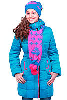 Стильная детская курточка для девочки с шарфом на зиму