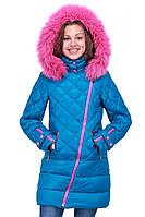 Детское зимнее пальто для девочки Люси с мехом