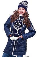 Качественная детская зимняя куртка с шарфом для девочки