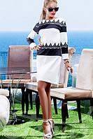 Стильное женское трикотажное платье с длинным рукавом кружево