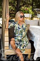 Стильное платье-туника цвета милитари ассиметричного кроя свободно сидит по фигуре французский трикотаж