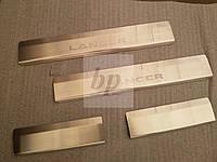 Защитные хром накладки на пороги Mitsubishi lancer X (митсубиси лансер Х (10) 2007+)