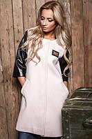 Женское кашемировое пальто с кожаными рукавами 3/4 в расцветках Ш715
