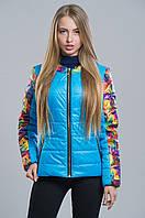 Яркая демисезонная куртка с цветочным принтом (голубой), разные цвета