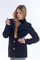 Молодежное короткое синее пальто с поясом, разные цвета