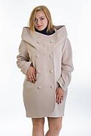 Модное бежевое кашемировое пальто батальных размеров, разные цвета