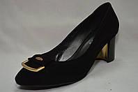 Туфли Erisses черные замшевые на невысоком широком каблуке,большие размеры