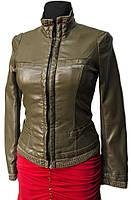 Женская куртка демисезонная. Оливковая. Эко-кожа.