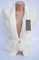 Роскошная женская меховая жилетка р.56 белый