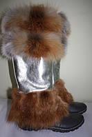 Гетры из кожи с мехом рыжей лисы.