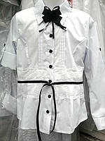 """Школьная блуза """"Бантик"""" с гипюровой вставкой"""