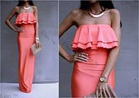 Коралловое женское платье в пол