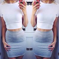 Женский костюм футболка + юбка