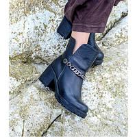 Женские кожаные модные ботинки из черной кожи на невысоком удобном каблуке, а.740ч