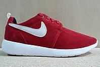 Мужские Кроссовки Nike Roshe Run  замша красные