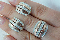 Серебряный гарнитур - кольцо и серьги из вставками золота и фианитами