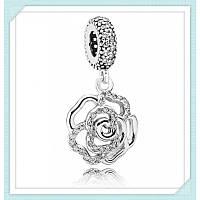 Шарм подвеска сияющая роза из серебра 925 пробы пандора (pandora)