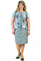 Блуза женская, трикотажная ,нарядная , стального цвета с паеткой,48,50,52,54( БЛ 628-1)