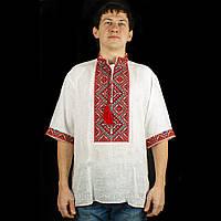 Чоловіча сорочка вишиванка з білого льону короткий рукав