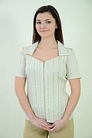 Блуза бежевая ,стрейч рубашка женская , на молнии ,бл 032-1  ,48-56.
