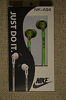 Хорошие вакуумные Наушники Nike NK-A94. Очень удобные. Зеленые