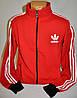 Красная спортивная мужская кофта Adidas с полосами