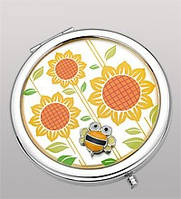 Зеркальце посеребренное из металла круглой формы с рисунком в виде подсолнухов и пчел со стразами