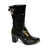 Женские зимние ботинки на невысоком каблуке, натуральный лак и замша.