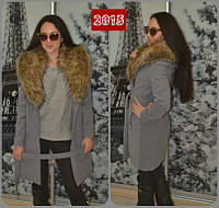 """Пальто женское кашемировое с меховым воротником """"ZAAL"""""""