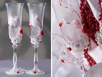 Бокалы свадебные с красным декором