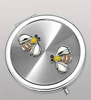Зеркальце посеребренное из металла круглой формы с рисунком в виде пчел со стразами